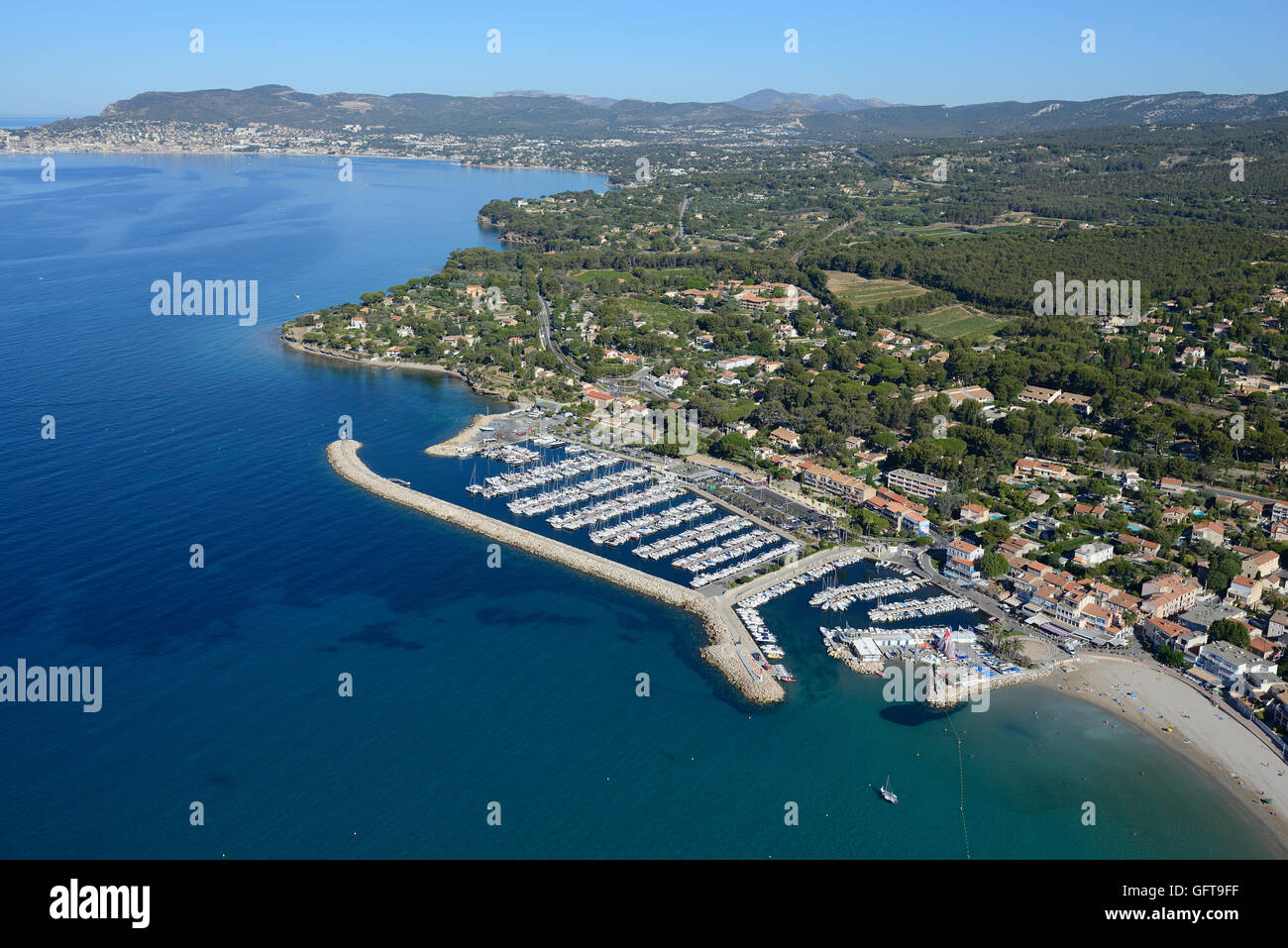 MARINA OF SAINT-CYR-SUR-MER (aerial view). Var, Provence, France. Stock Photo