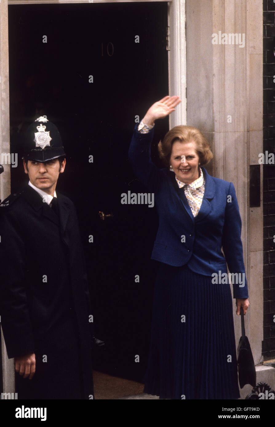 Margaret Thatcher 10 Downing Street London 1980s. HOMER SYKES - Stock Image