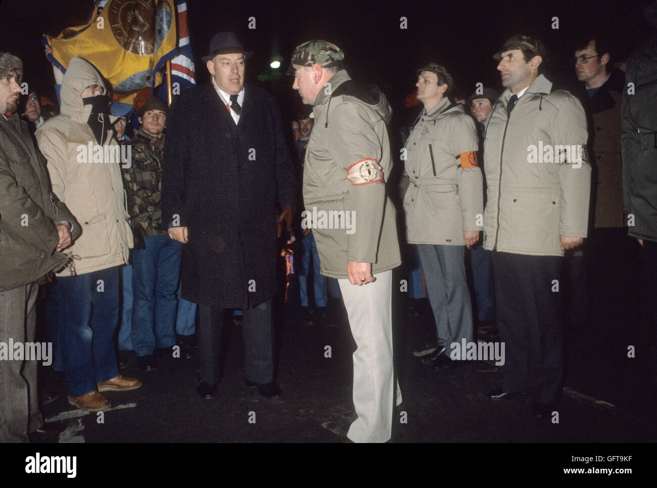 Rev Ian Paisley Northern Ireland with members at 3rd Force meeting at Newtownardes for Loyalist Day of Action. 1980s - Stock Image