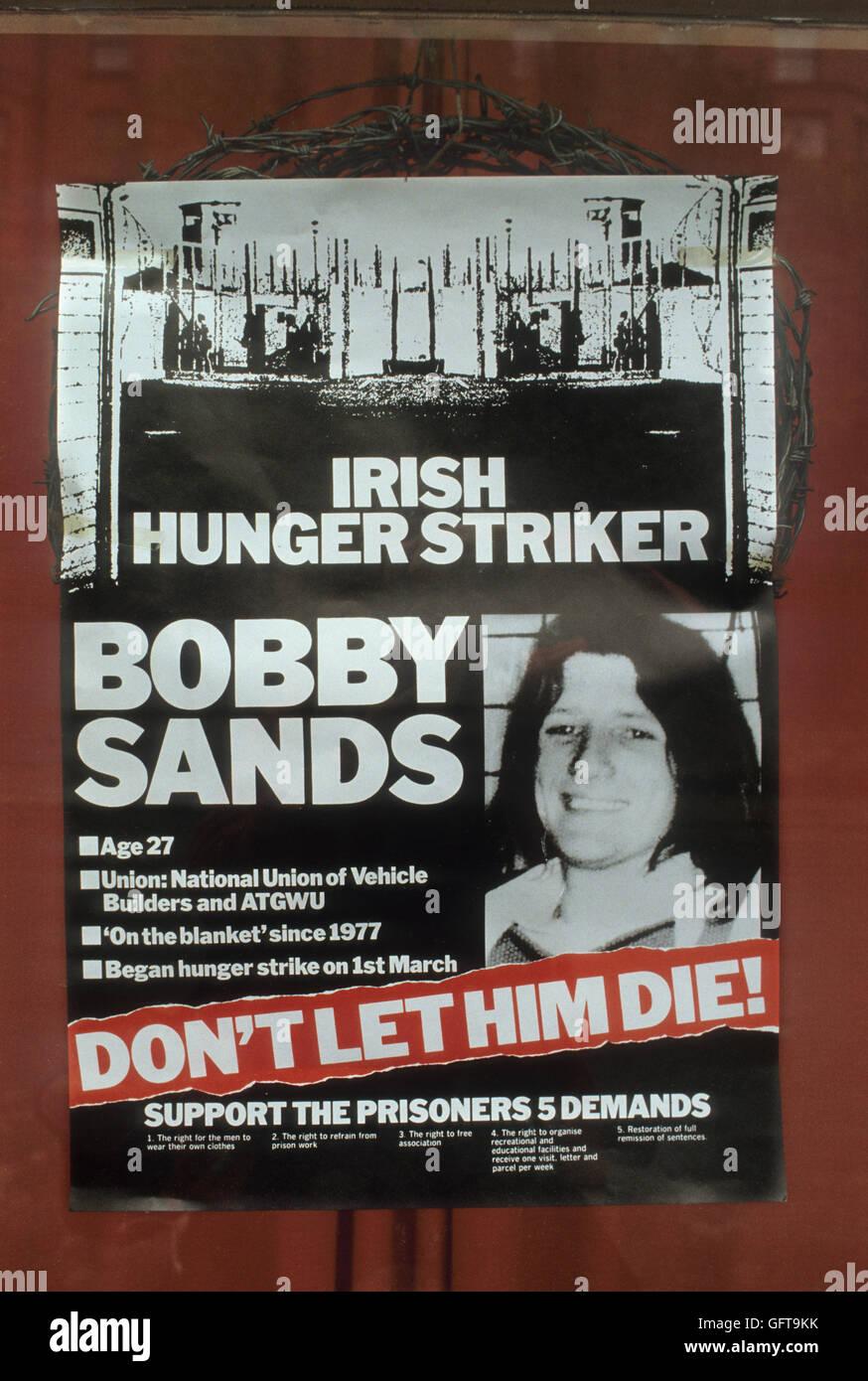 Bobby Sands poster Hunger Strike 1980s Belfast Northern Ireland UK HOMER SYKES - Stock Image