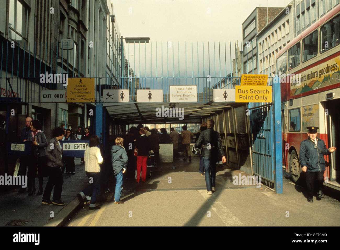 Northern Ireland The Troubles. 1980s. 1981, Searches are carried out on shopper entering secure area of Belfast. - Stock Image