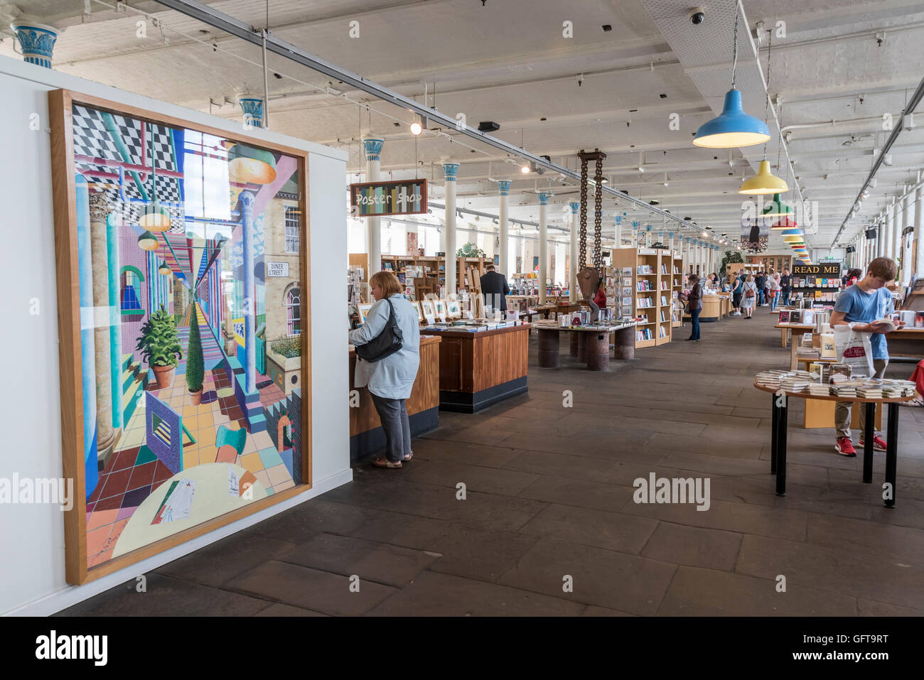 An interior of the Salt Gallery in Saltaire village, West Yorkshire. Home to a major exhibition of David Hockney - Stock Image