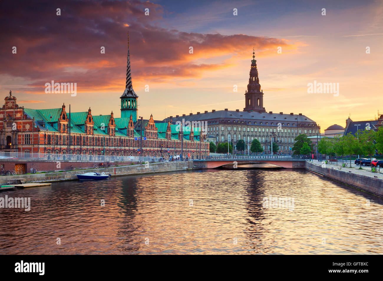 Copenhagen. Image of Copenhagen, Denmark during beautiful sunset. - Stock Image