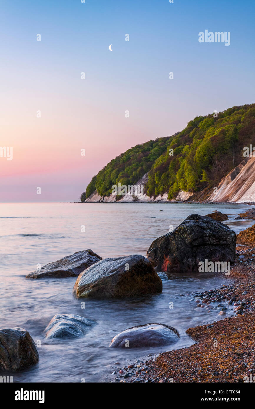 Chalk cliff and a beech forests, Jasmund National Park, Rügen, Germany, Unesco World Heritage. Stock Photo