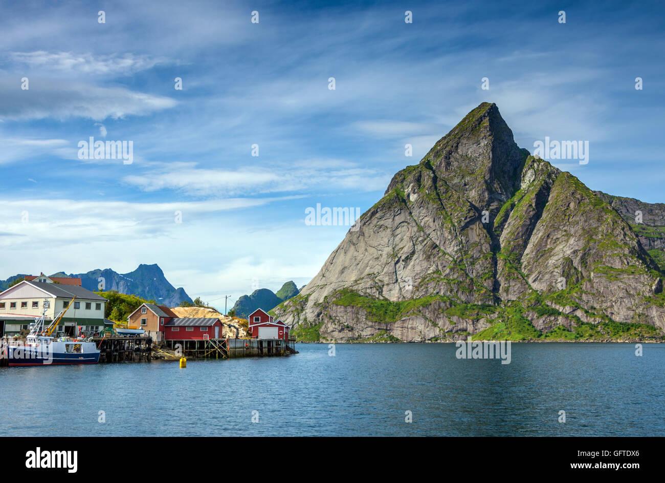 Olstinden mountain seen from Reine, Lofoten Norway - Stock Image