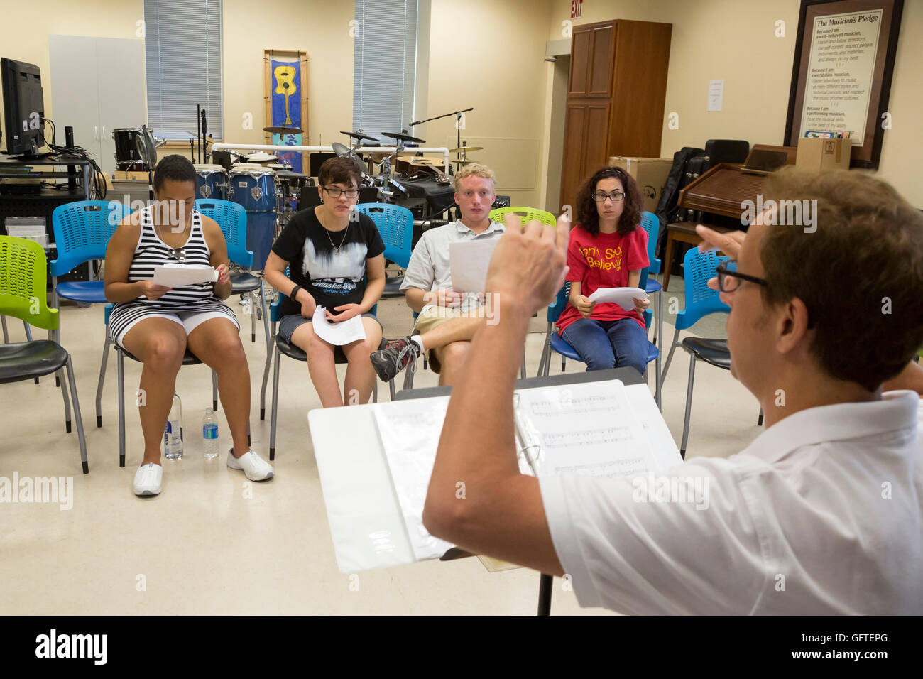 Las Vegas, Nevada - People with intellectual disabilities in the music program run by the nonprofit Opportunity - Stock Image