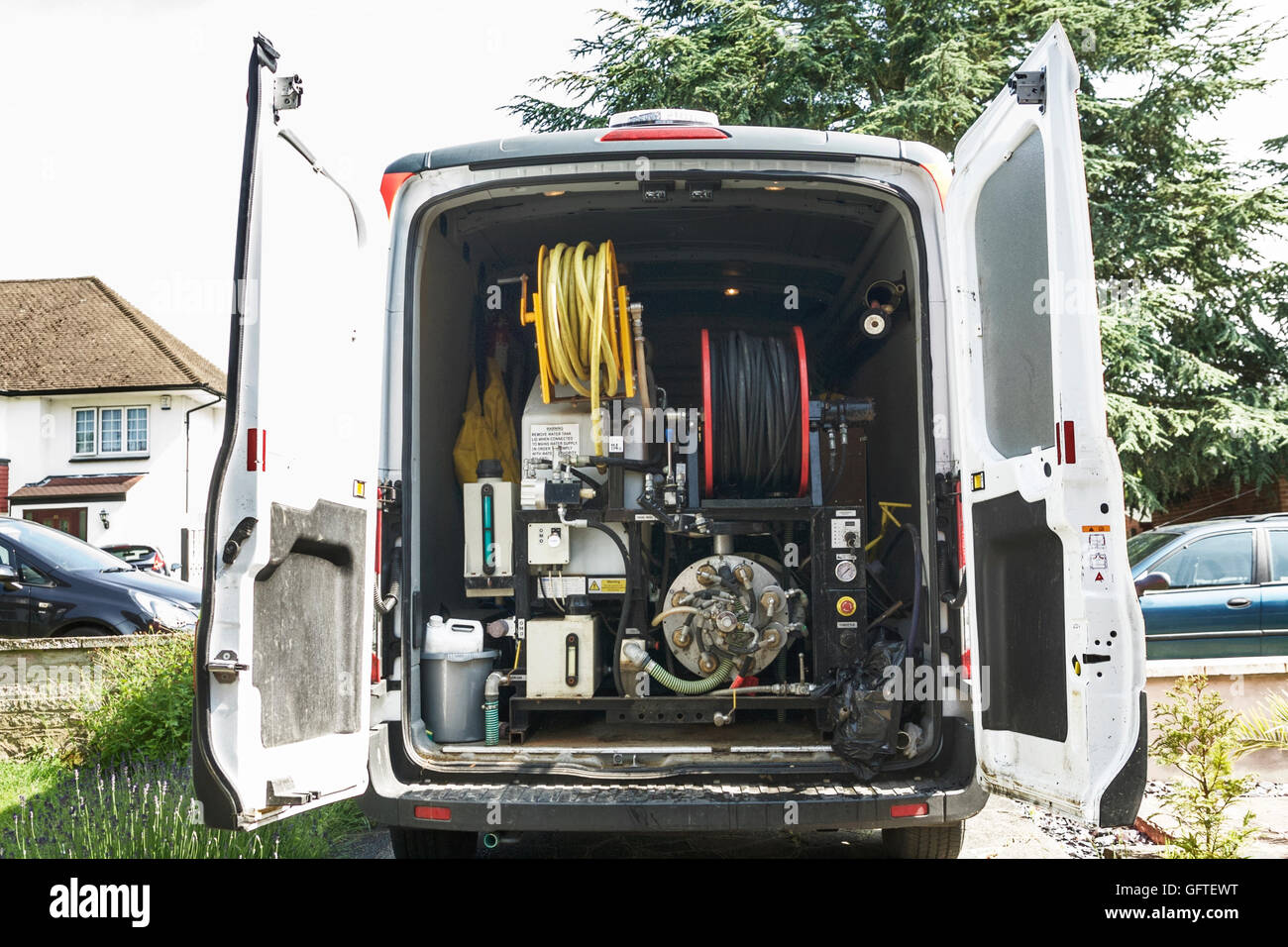 Dyno Rod van with Harben high pressure jet 4000 psi used to clear blockages in drains. - Stock Image