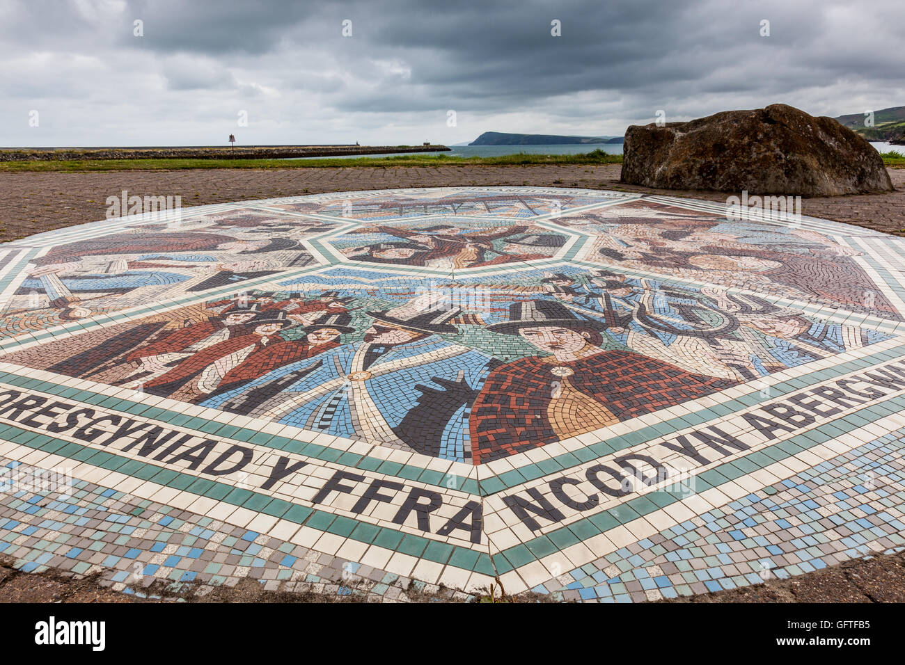 Mosaic commemorating the Last Invasion of Britain at Goodwick, Fishguard, Pembrokeshire, Wales - Stock Image