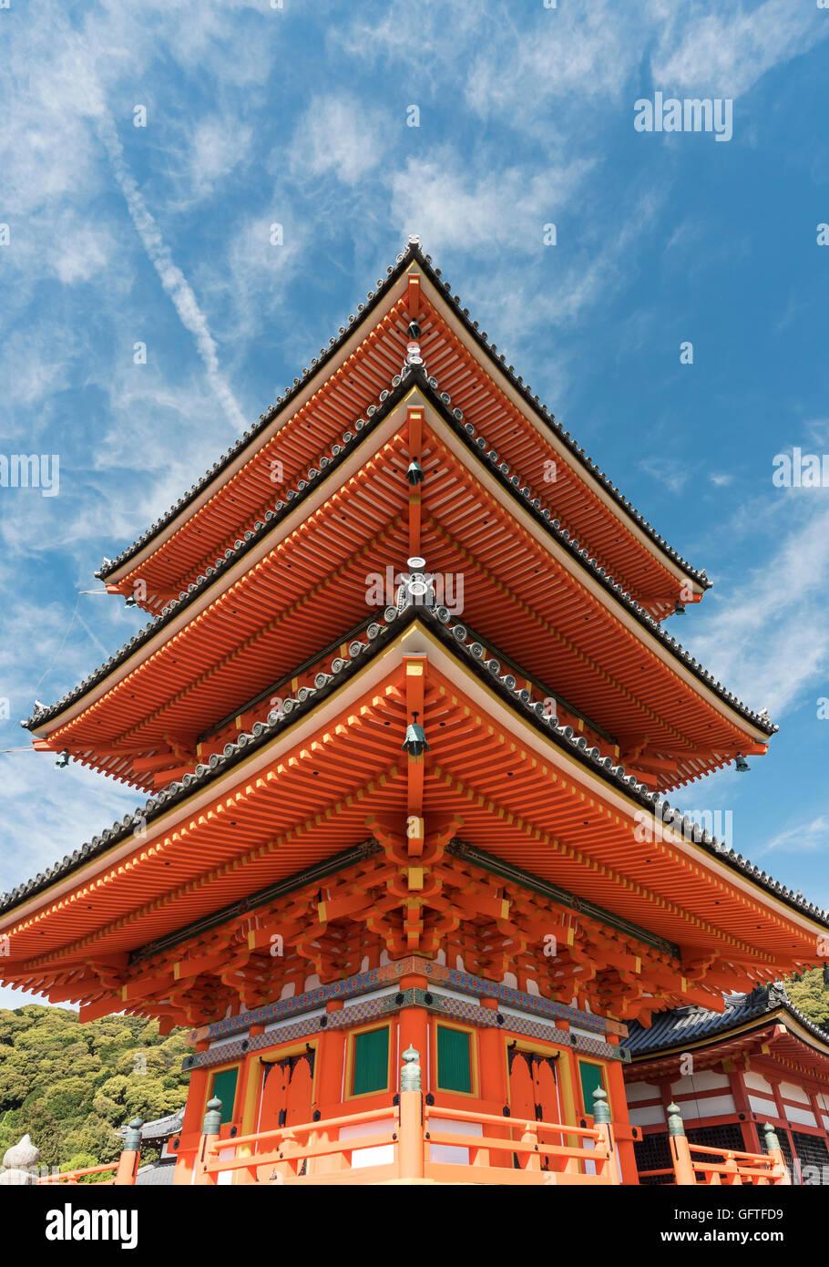 Three-story Pagoda, Kiyomizudera (Kiyomizu-dera) Temple, Kyoto, Japan - Stock Image
