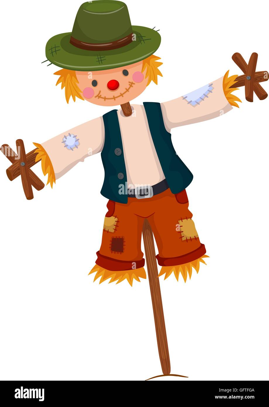 Scarecrow wearing green hat illustration - Stock Vector