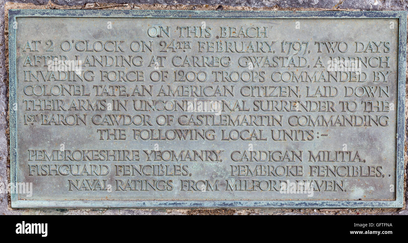Plaque commemorating the Last Invasion of Britain at Goodwick, Fishguard, Pembrokeshire, Wales - Stock Image