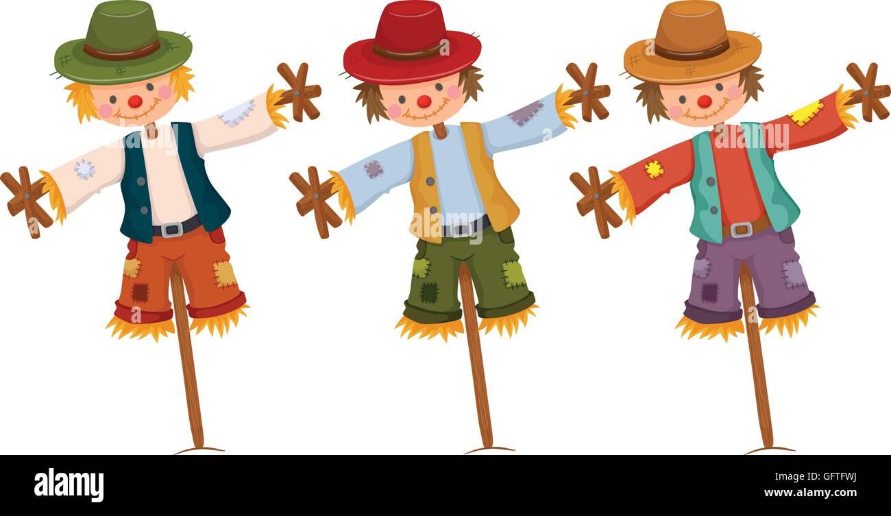 Three scarecrows on wooden sticks illustration - Stock Vector