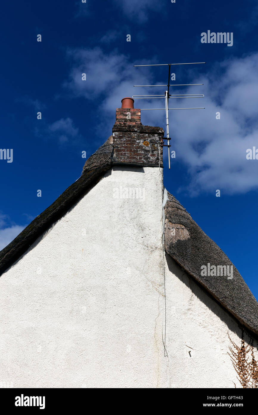 Tv antenna on cob and thatch gable, tv, aerial, home, clear, line, cable, old, digital, technology, equipment, rural, - Stock Image