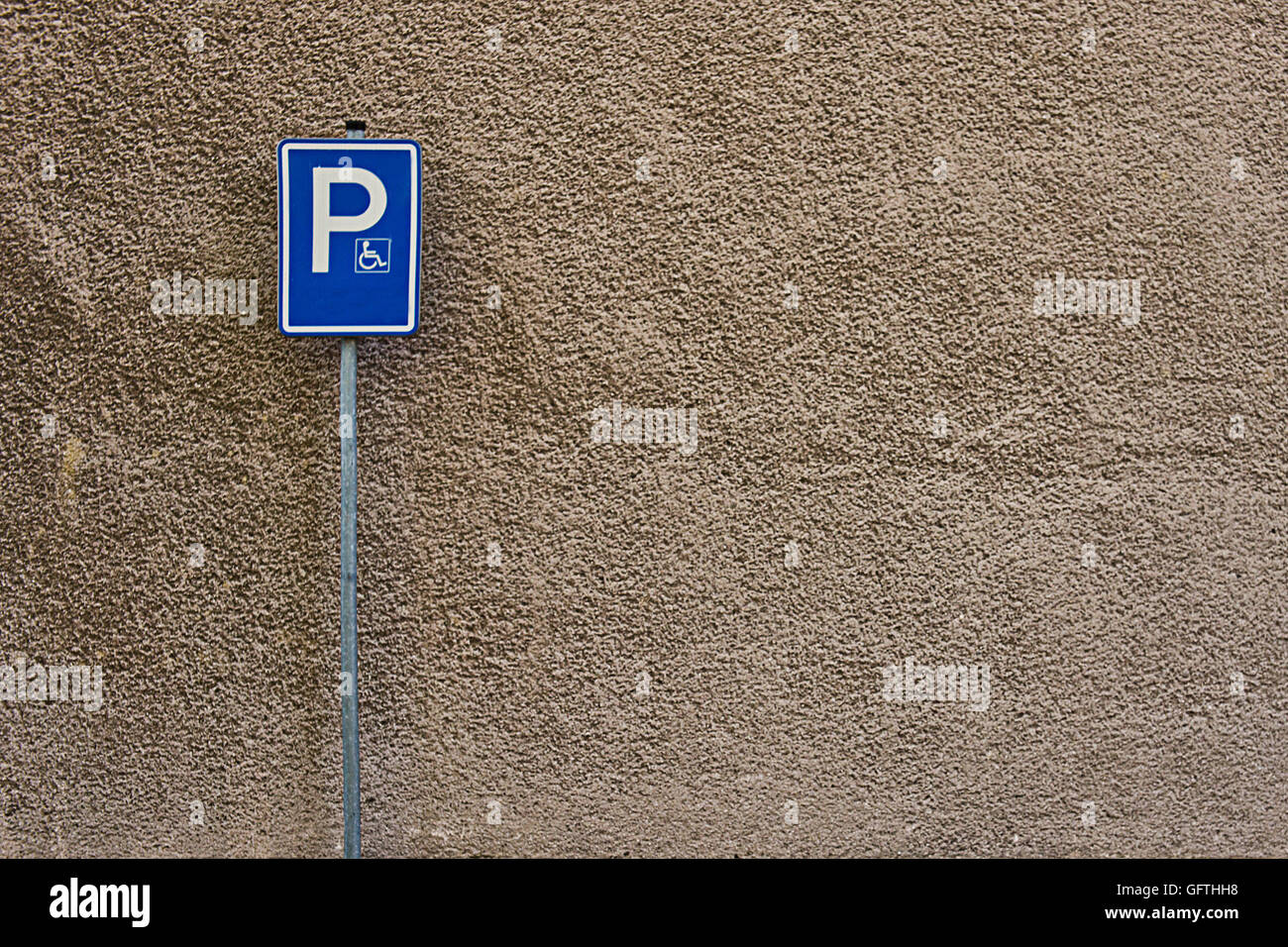 parking sign reserved for disabled - Stock Image