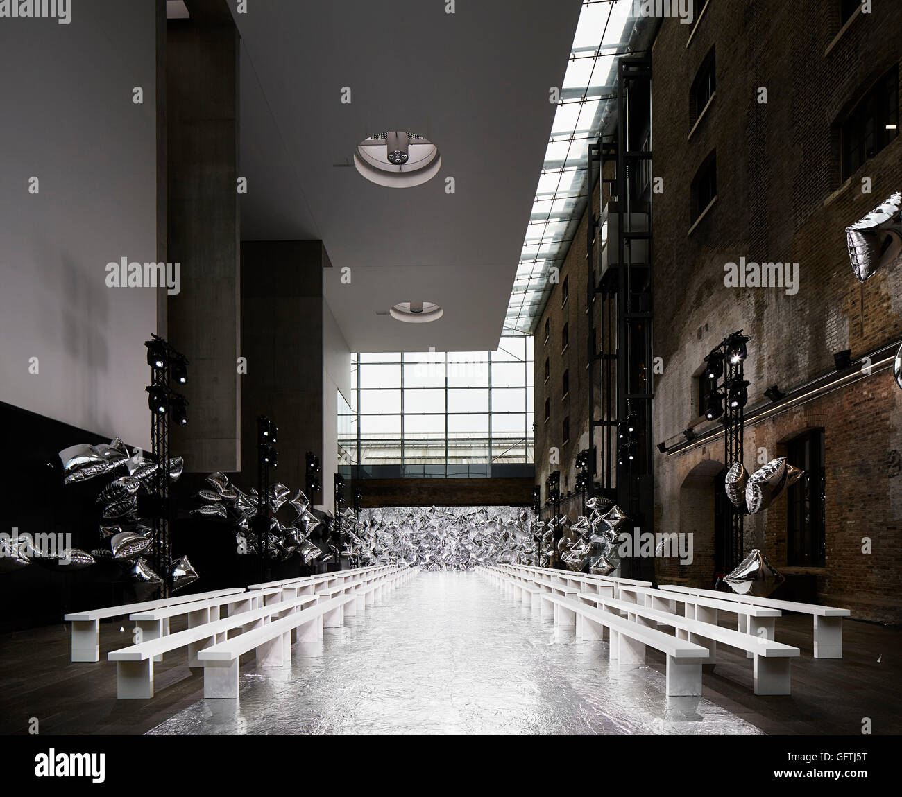 Double Height Hall Interior With Fashion Show Runway Central Saint Stock Photo Alamy