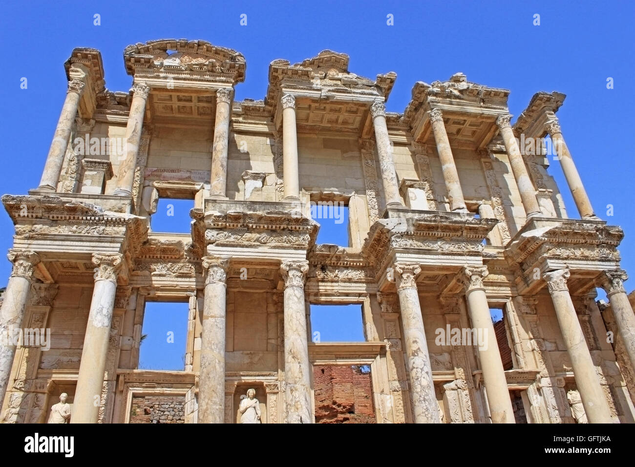 The remains of the enormous Library of Celsus in the city of Ephesus in modern day Turkey - Stock Image
