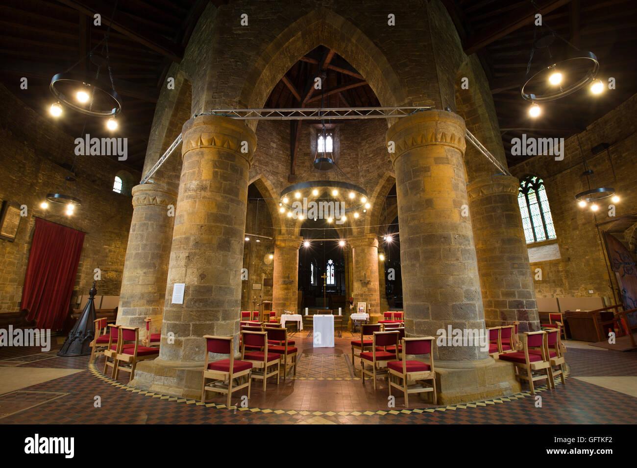 UK, England, Northamptonshire, Northampton, Church of Holy Sepulchre, original circular nave - Stock Image
