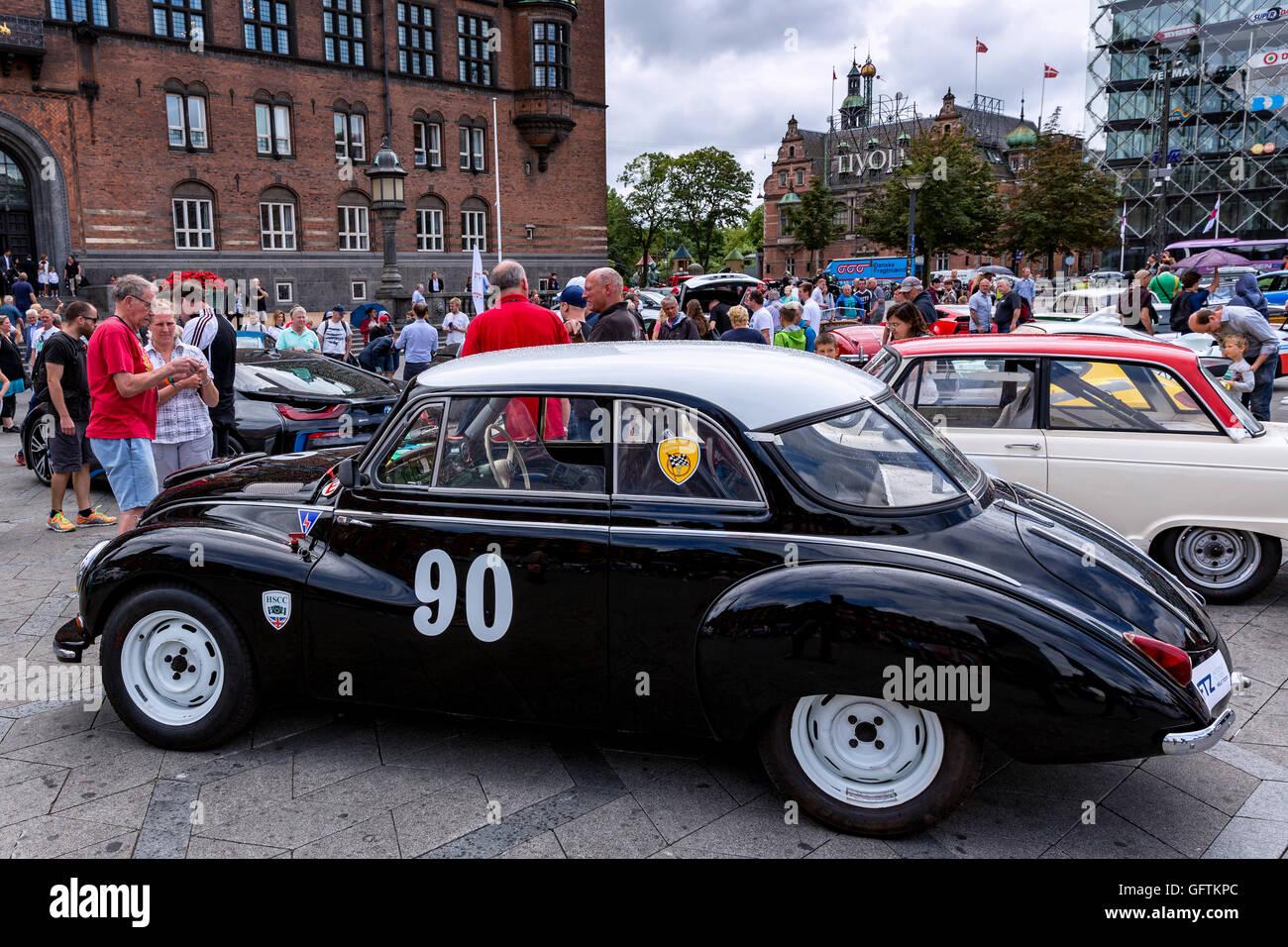 A DKW 3=6 Sonderklasse Limousine Special parked on City Hall Square, Copenhagen, Denmark - Stock Image