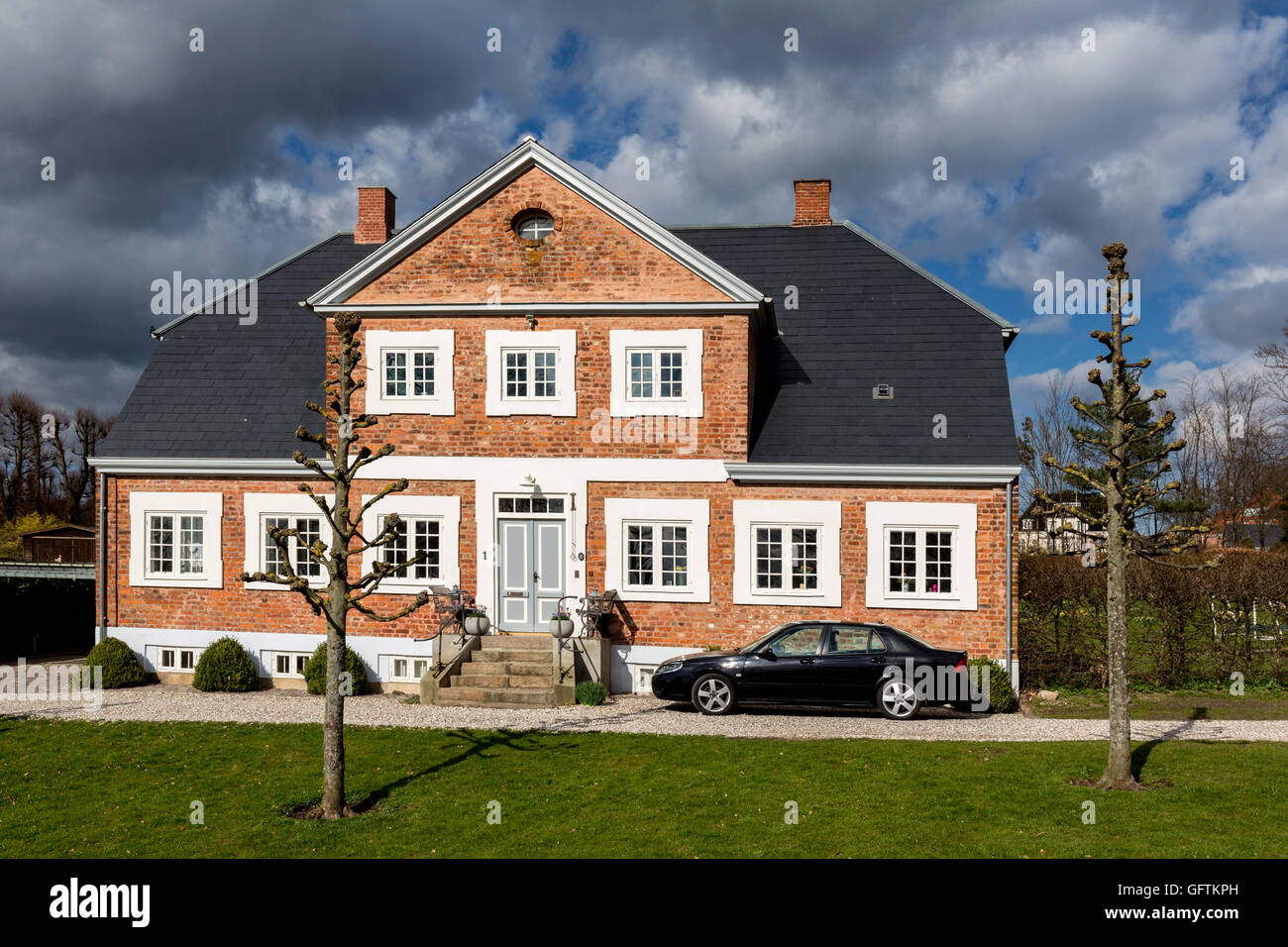 Typical old brick house in Denmark, Hillerød - Stock Image