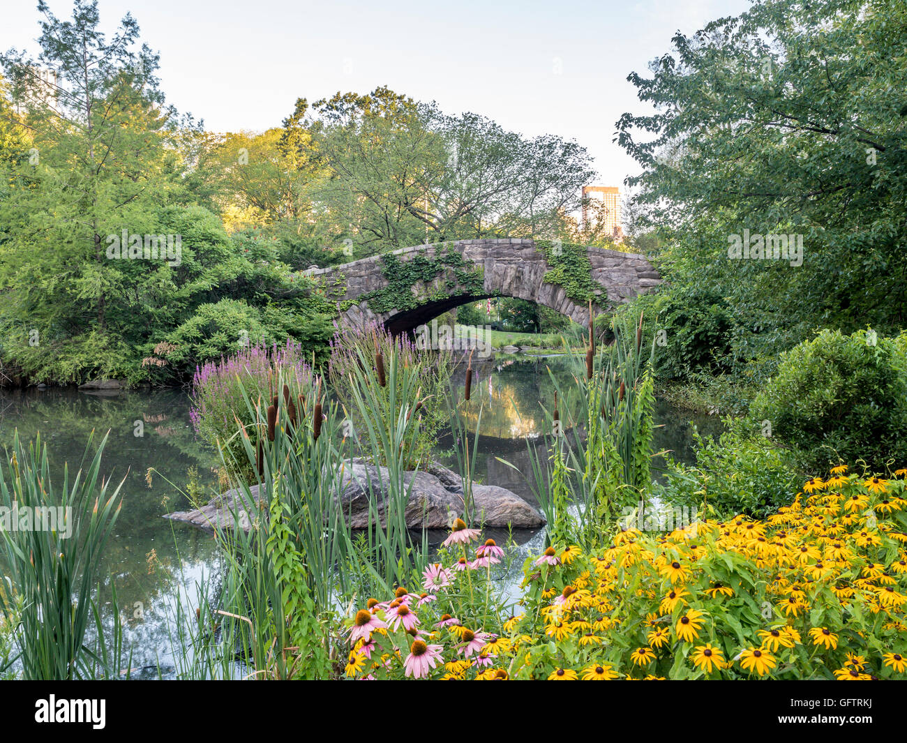 Gapstow bridge in Central Park in July and August with flowers Stock Photo