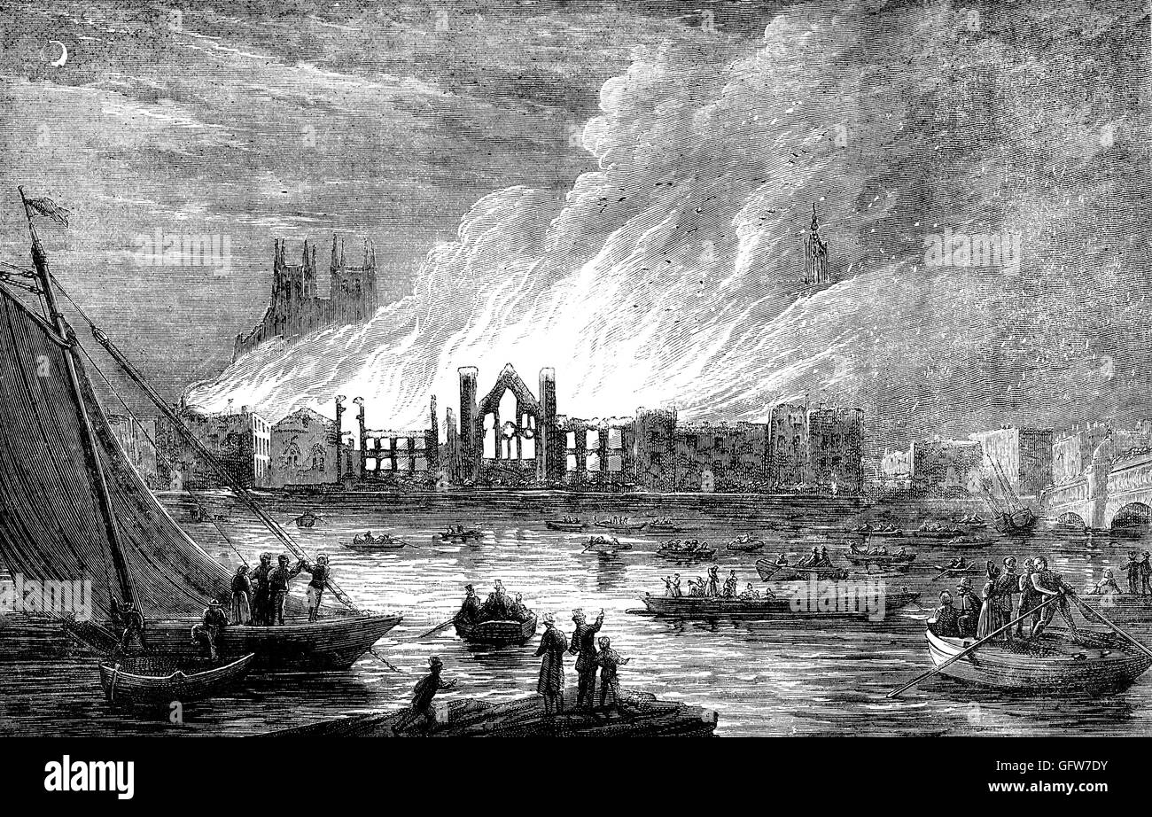 The Palace of Westminster, the medieval royal palace used as the home of the British parliament, was largely destroyed - Stock Image