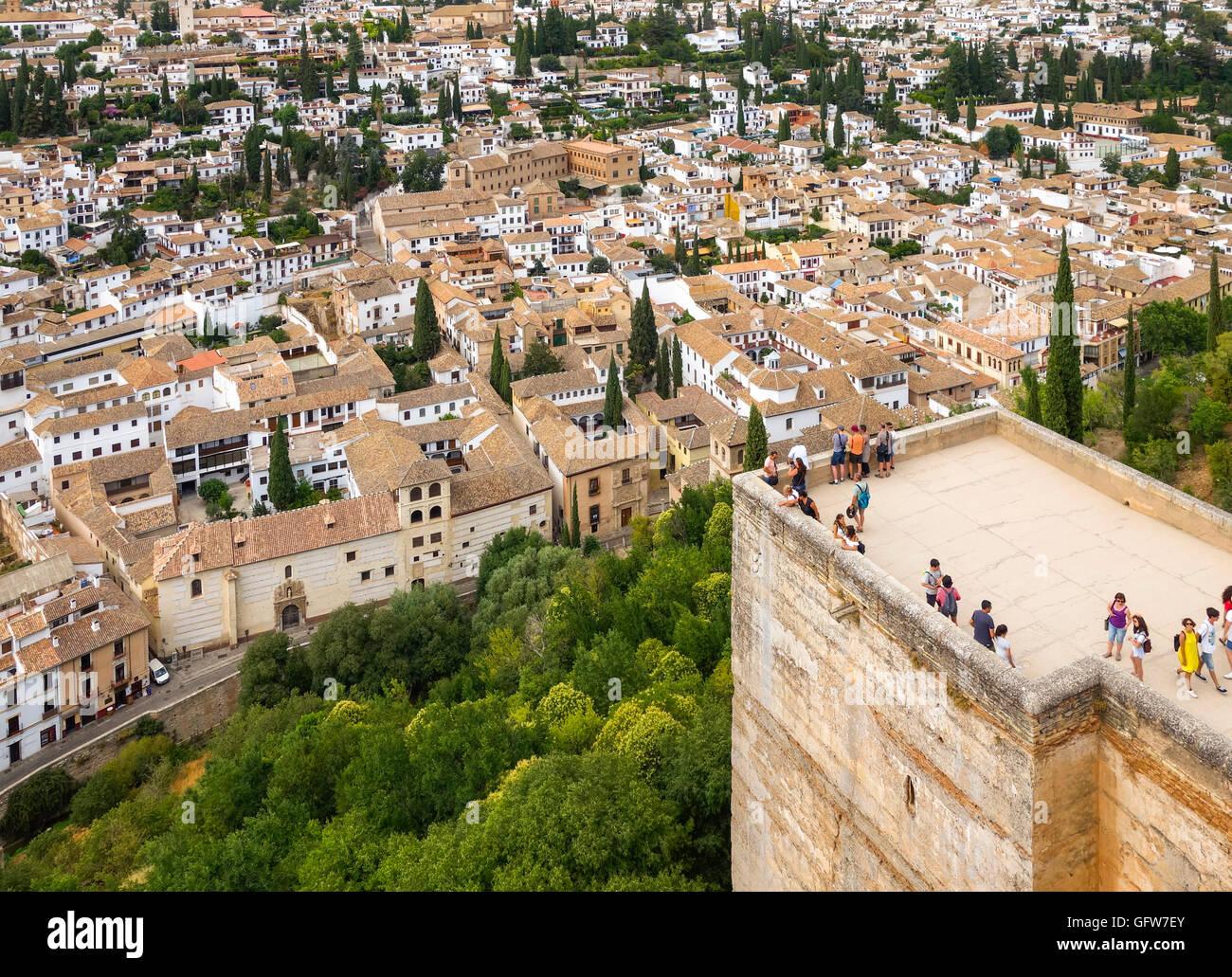 Albayzin (Albaicin) moorish quarter from Alcazaba tower Alhambra