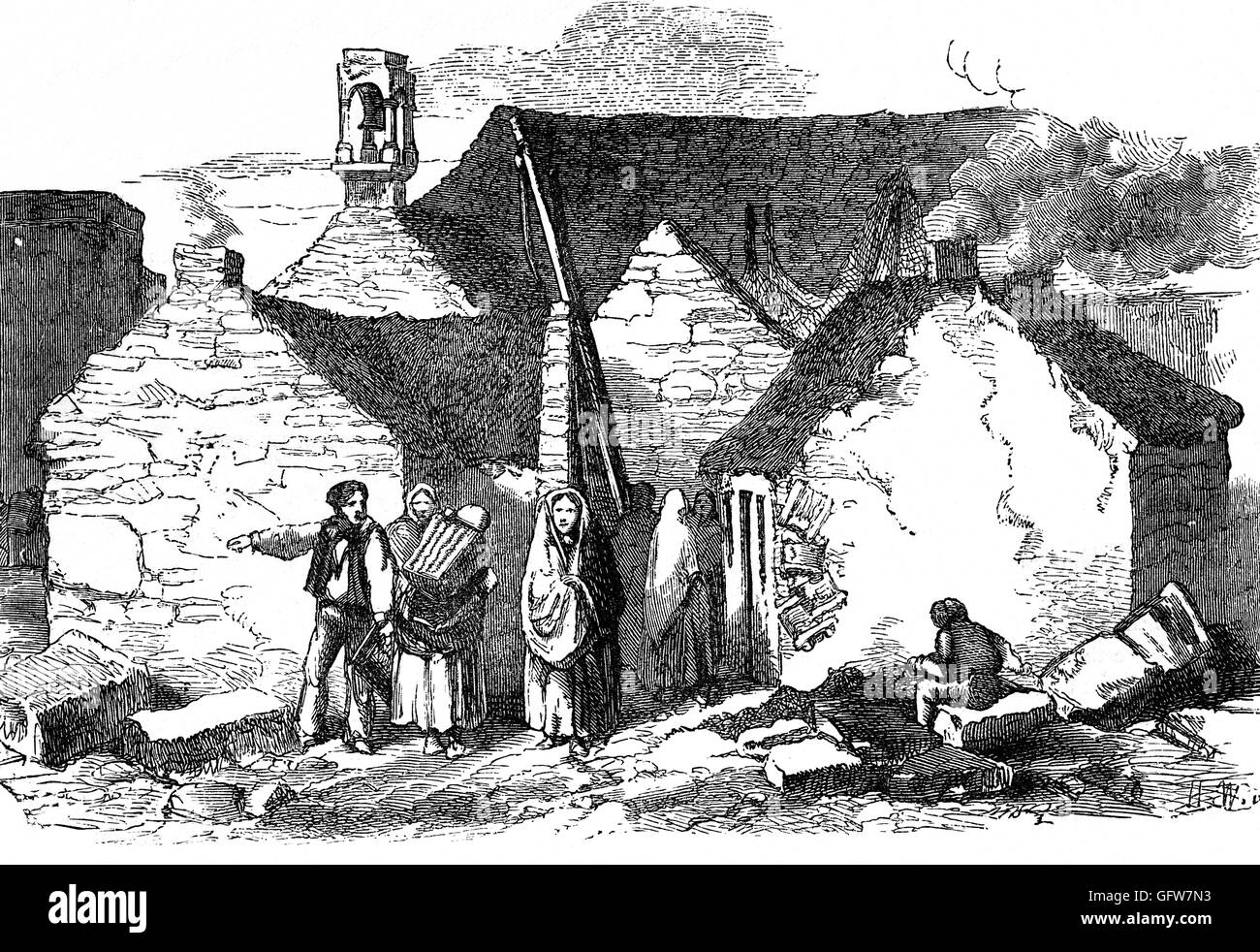 Peasant cottages on the west coast of Ireland in 1835 when policies on corn was beginning to create greater poverty. - Stock Image