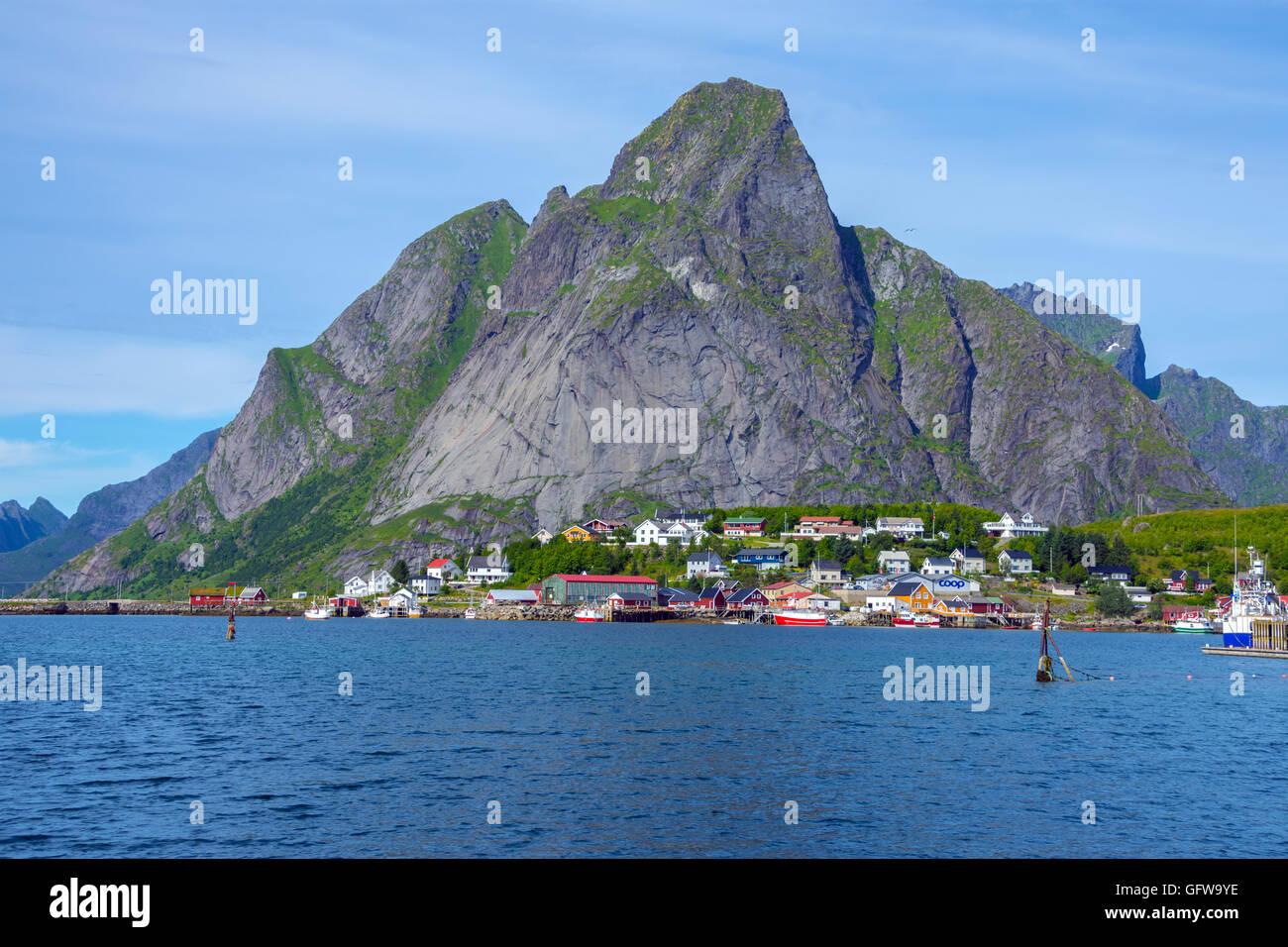 Olstinden mountain seen from Reine, Lofoten Norway Stock Photo