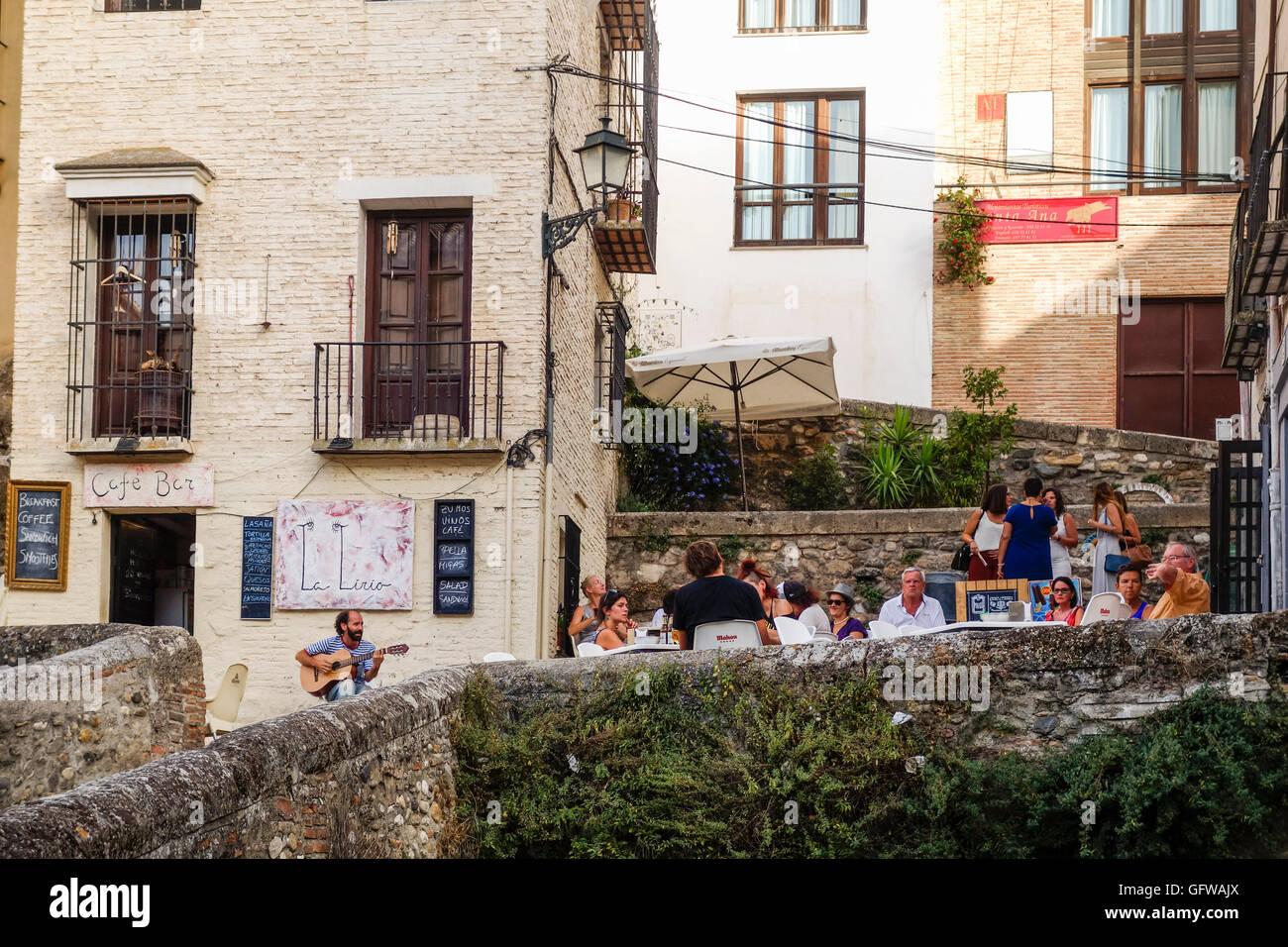 Terrace bar restaurant in Albaicin, Albayzin, Granada, moorish Stock