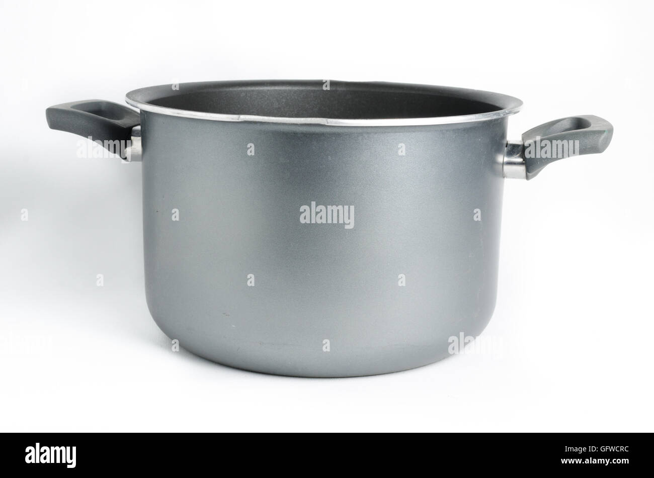 Simple empty grey cooking pot on white background - Stock Image