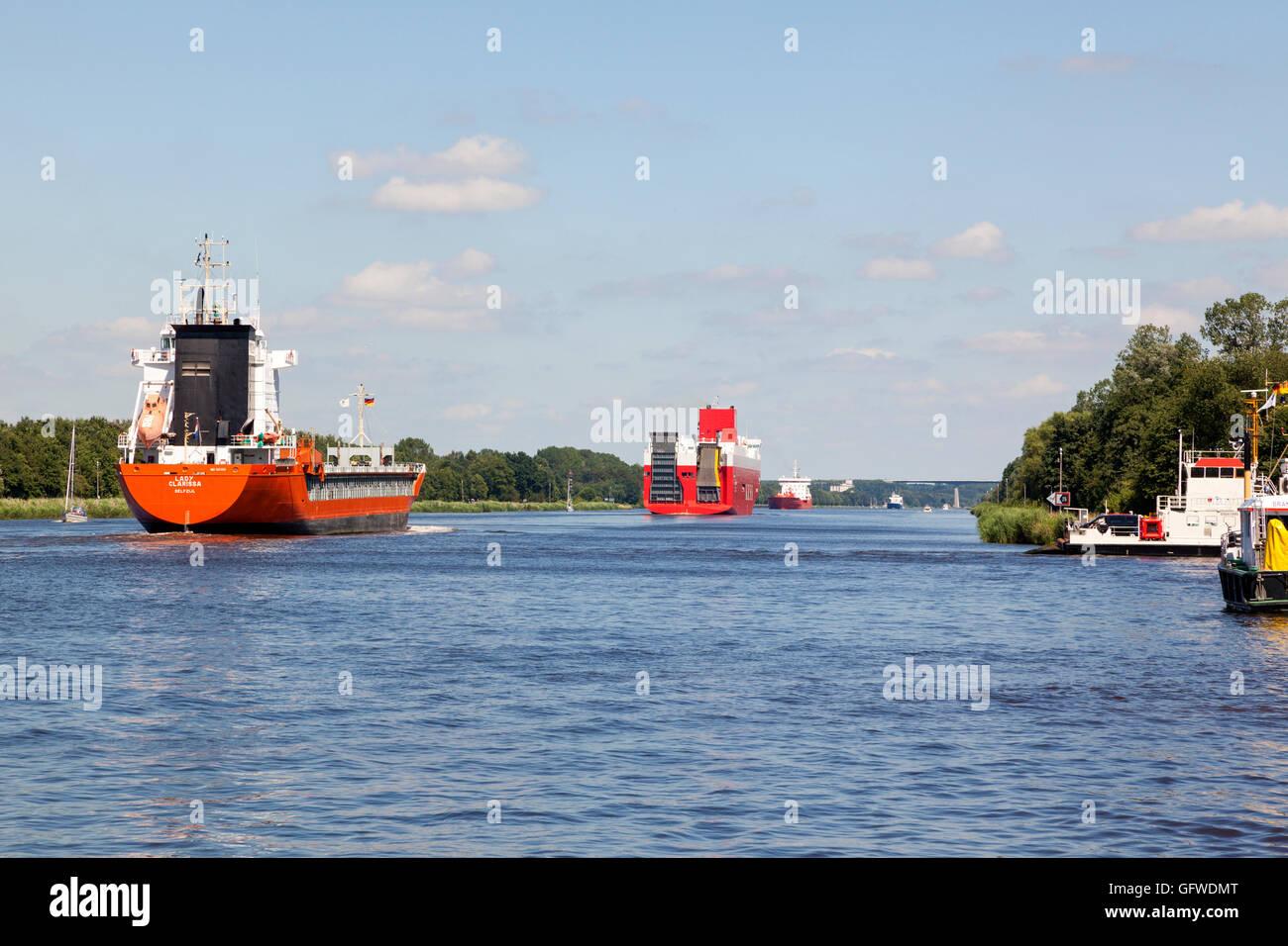 Traffic on Kiel Canal - Stock Image