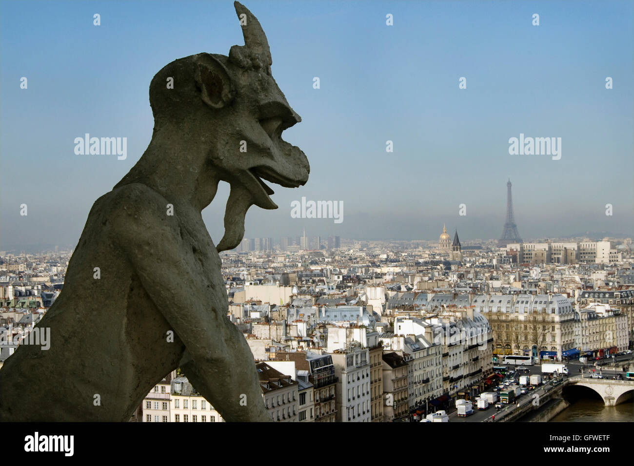 A photograph of the Galerie des Chimeres on the top of the Notre Dame  cathedral in Paris Stock Photo