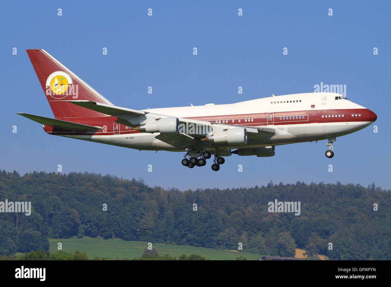 Zurich/Switzerland August 2, 2014: Boeing 747Sp from Quatar Amiri Flight at Zurich Airport. - Stock Image