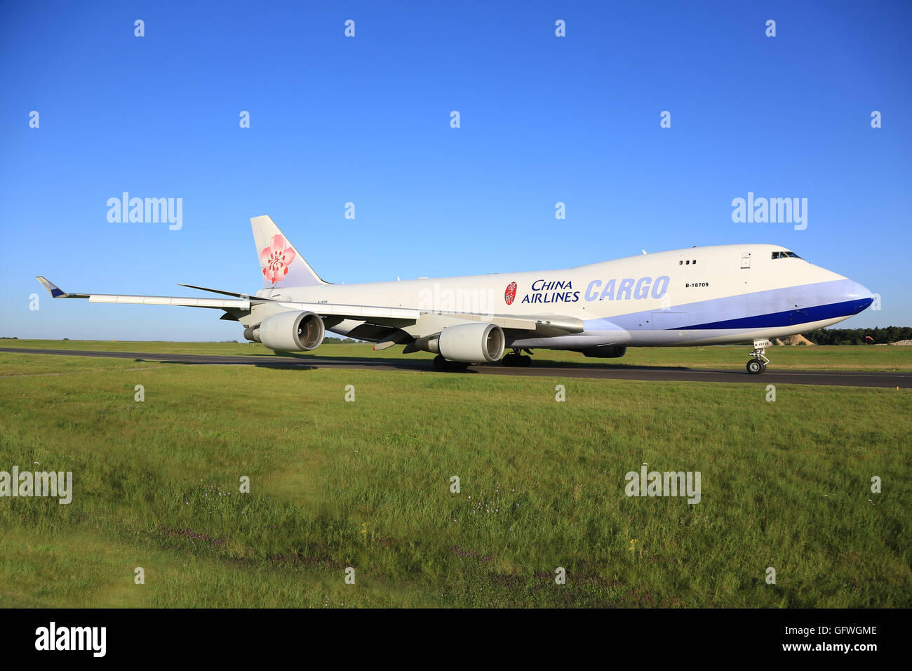 Luxembourg/Luxembourg August 9, 2015: Boeing 748 from Air China taxing at Luxembourg Airport Stock Photo