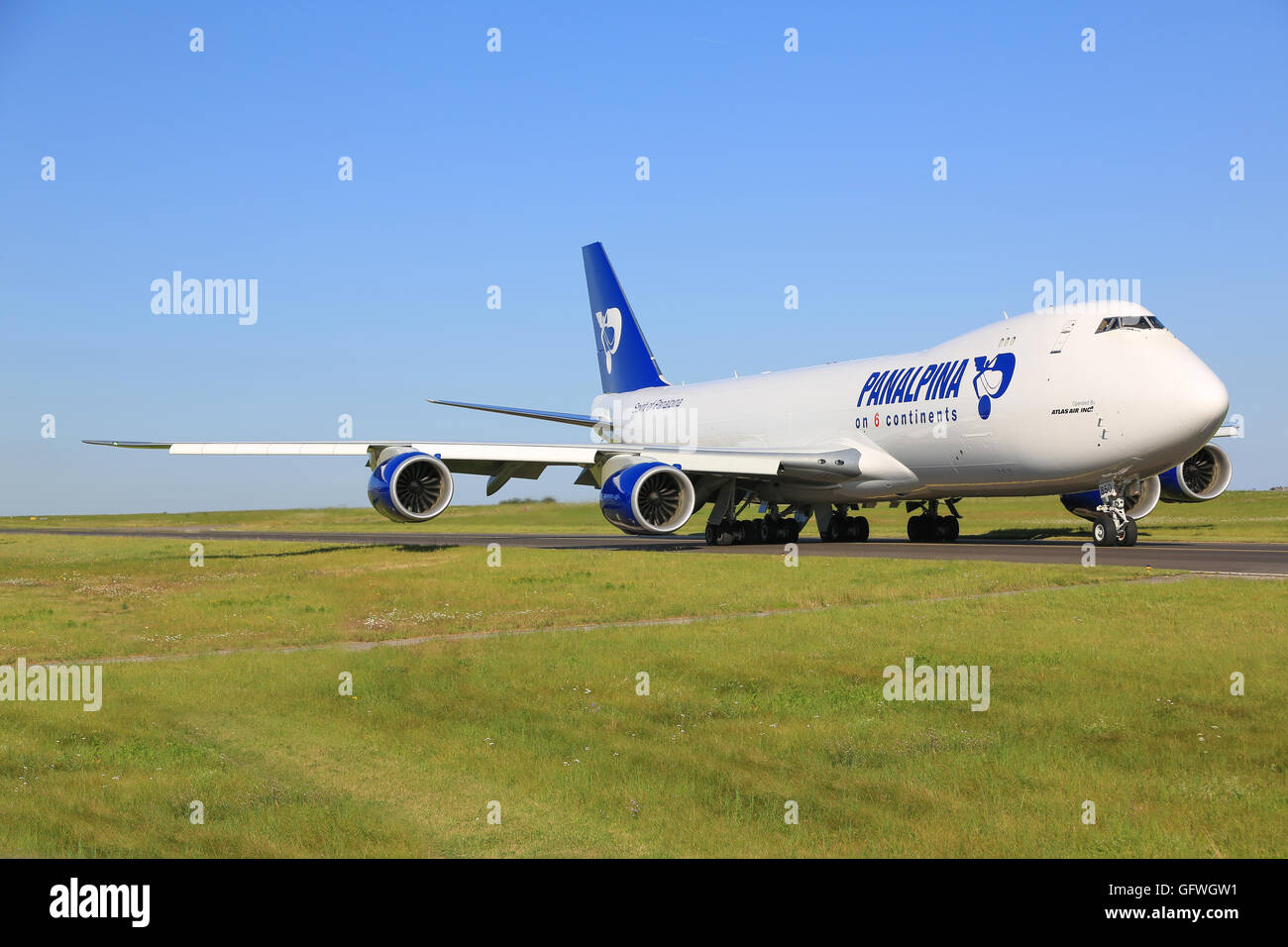 Luxembourg/Luxembourg August 9, 2015: Boeing 748 from Panalpina taxing at Luxembourg Airport - Stock Image