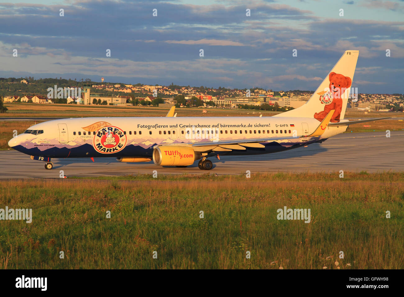 Stuttagart/Germany July 12, 2012: Boeing 737 from Tuifly with Bärem Marke livery ready to takeoff at - Stock Image