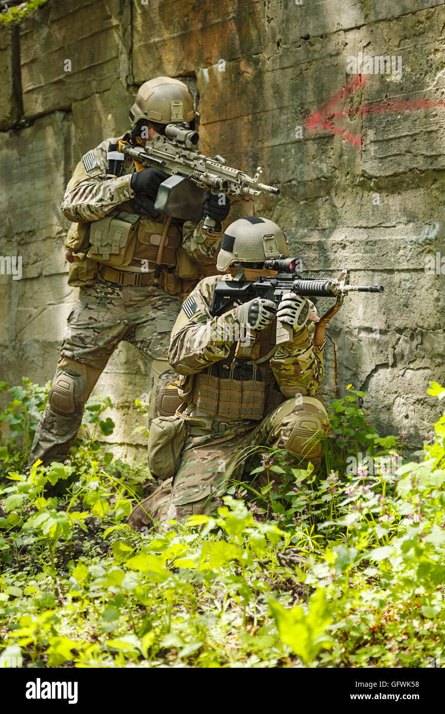 Green Berets soldiers in action - Stock Image