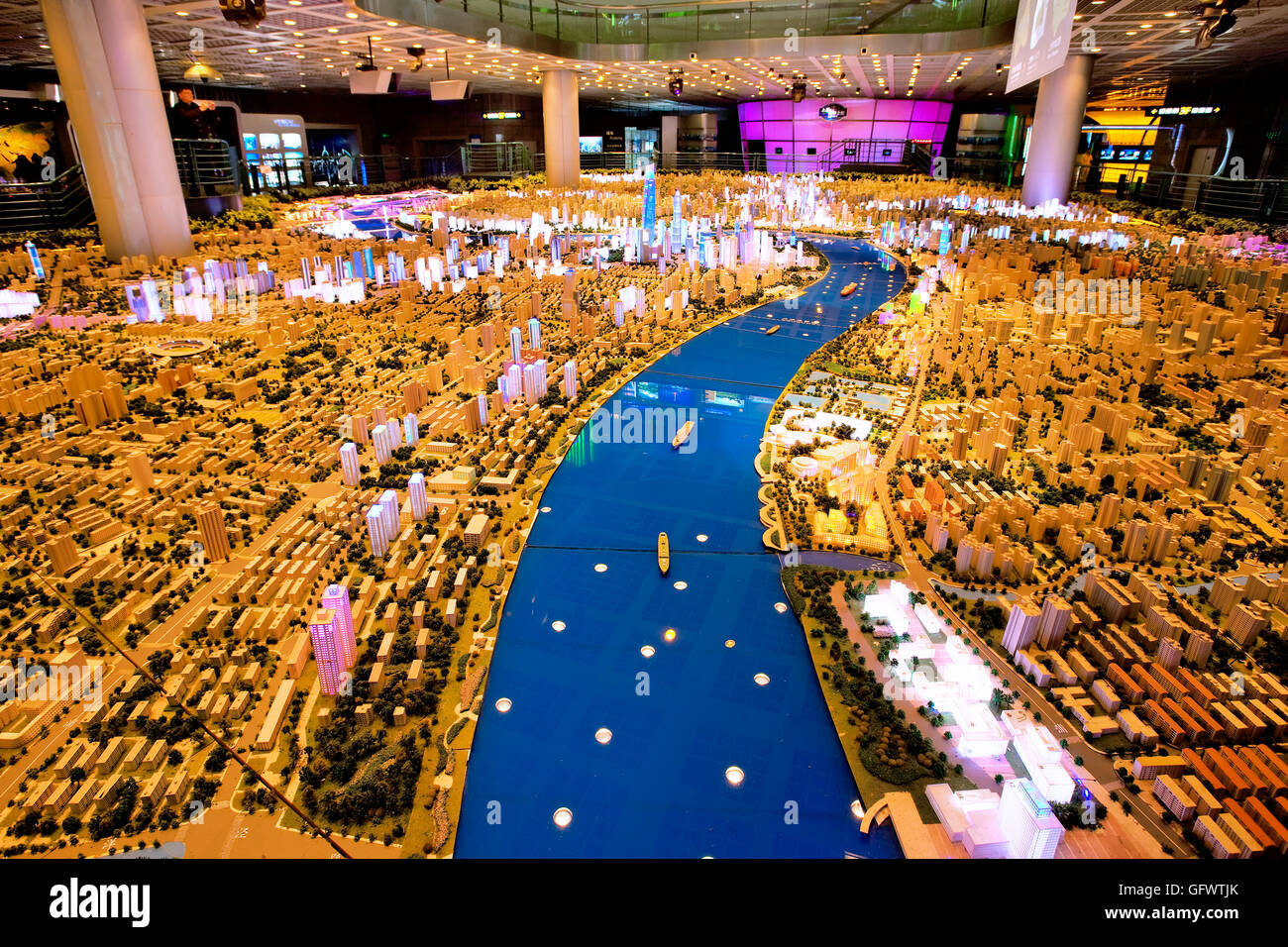 Scale model of Shanghai at the Shanghai Urban Planning Exhibition Center, China - Stock Image
