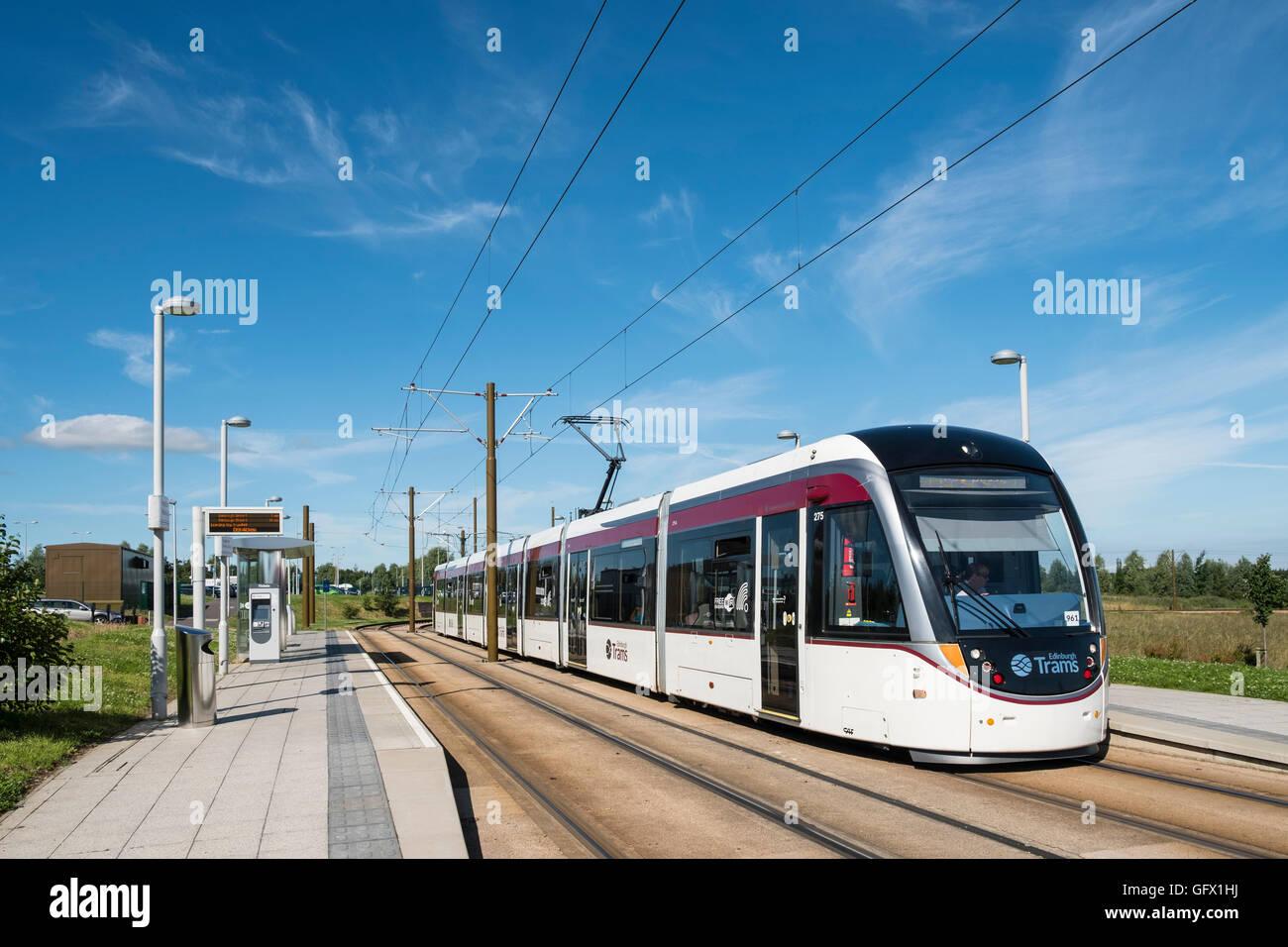 Modern tram in Edinburgh Scotland united Kingdom - Stock Image