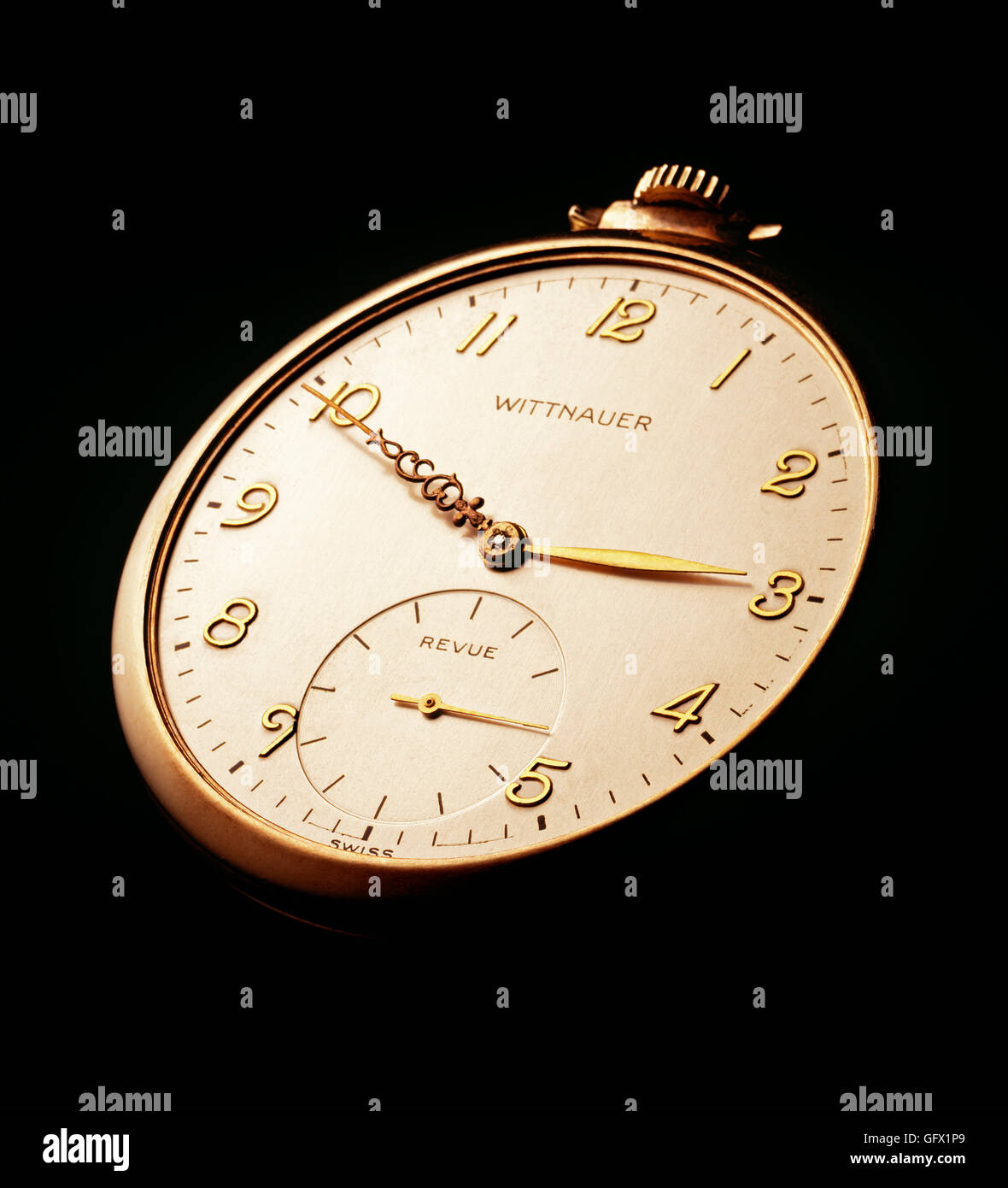 Close-up of a vintage pocket watch timepiece - Stock Image