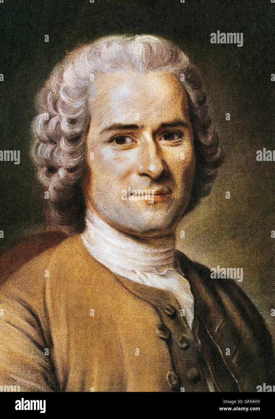 Jean Jacques Rousseau. Portrait of the Geneva born philosopher, Jean-Jacques Rousseau (1712-1778) by Maurice Quentin - Stock Image