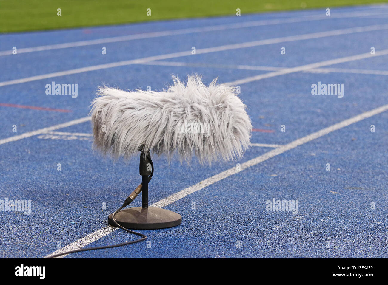 Big and furry professional sport microphone near the football field - Stock Image