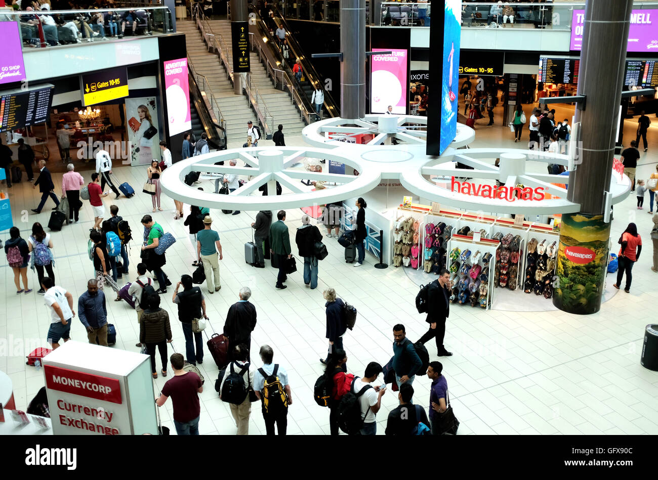 Departure lounge at London Gatwick Airport south terminal UK - Stock Image
