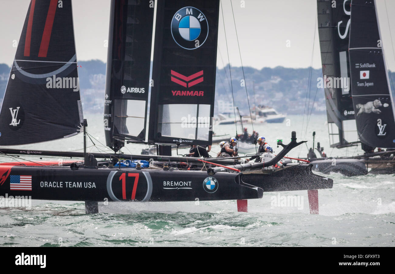 Sailing at the 2016 America's Cup World Series in Portsmouth, UK - Stock Image