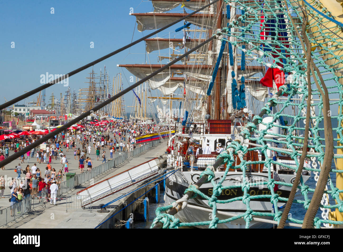 The activity at the Tall Ships Race event at Lisbon docks 2016. Simon Bolivar from Venezuela in the foreground - Stock Image