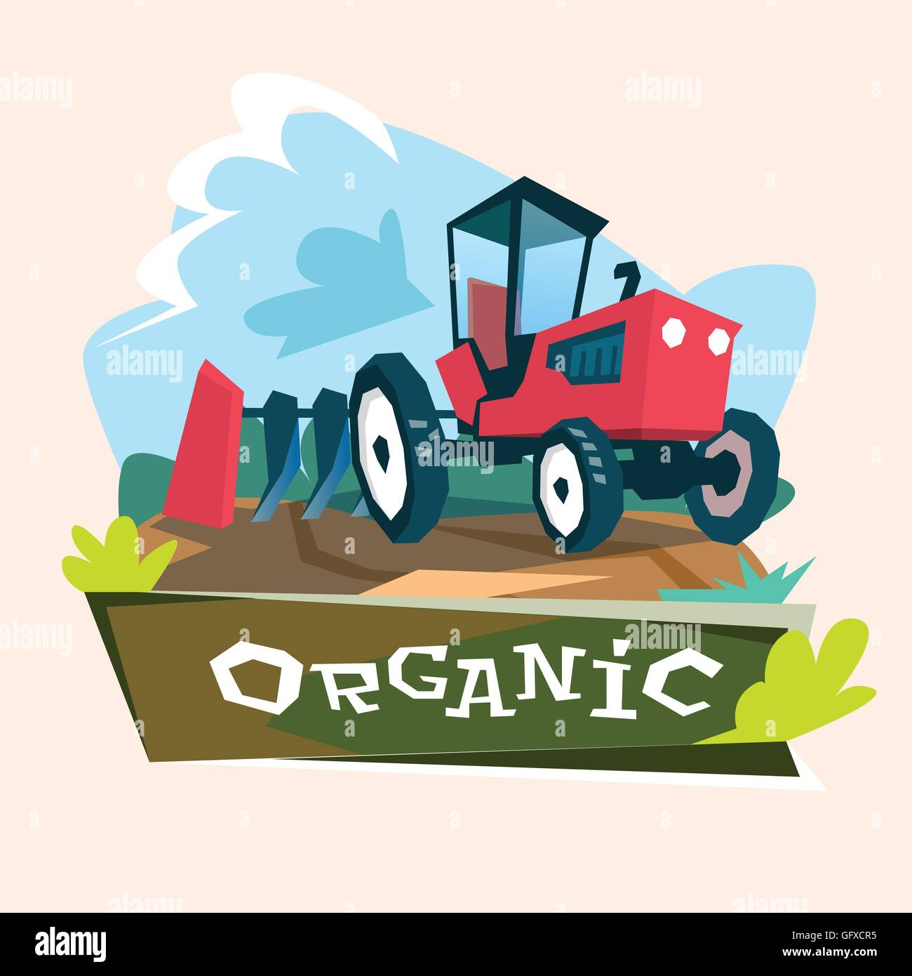Tractor Plowing Field Eco Farming Concept Stock Vector
