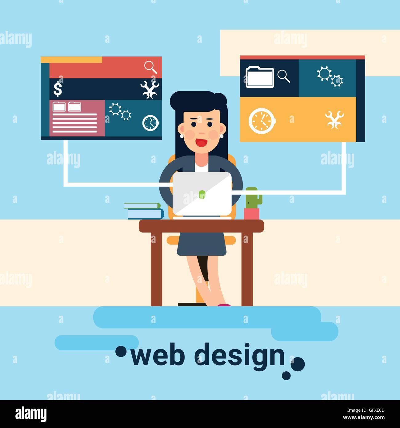 Woman Web Designer Workplace Graphic Design Background Stock Vector Image Art Alamy