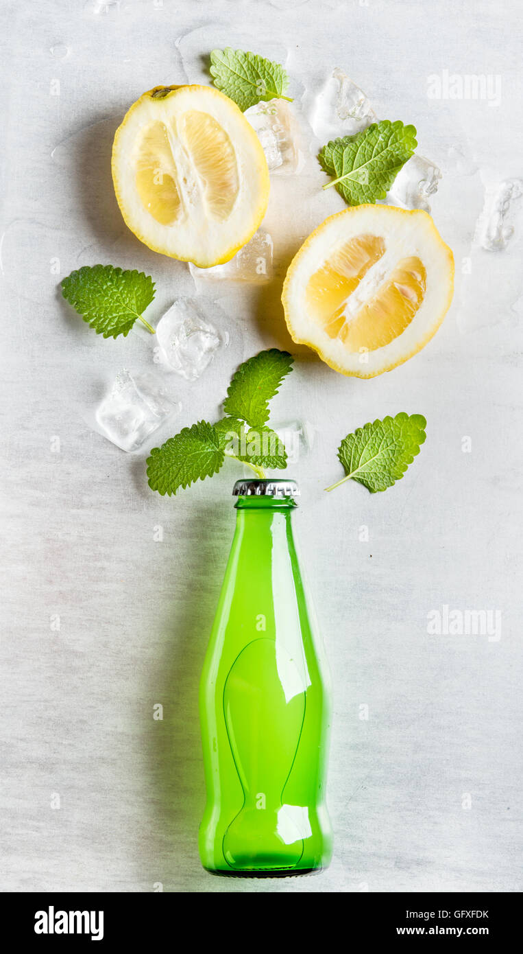 Green lemonade bottle with ingredients and ice cubes on steel background - Stock Image