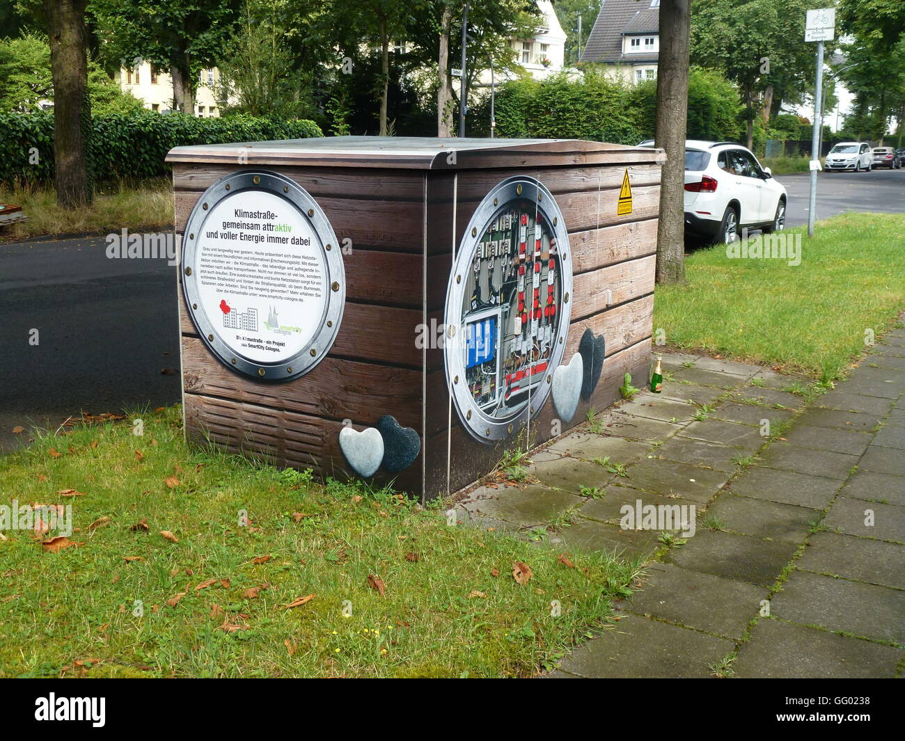 An electrical substation in Cologne, Germany, 31 July 2016. RheinEnergie is sprucing up the substations with artistic Stock Photo