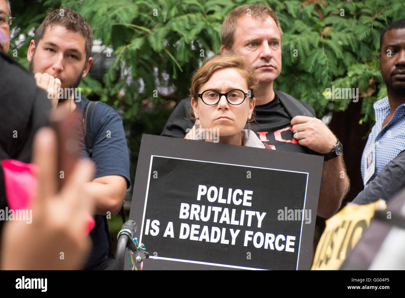 New York, USA. 1st August 2016. Black Lives Matter activists and allies occupied City Hall Park all day to protest - Stock Image